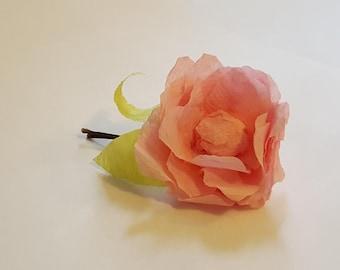 Crepe Paper Flower Hair Pin