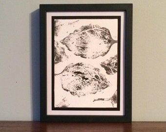 Double Large Leaf with Scratch Pattern- Original Relief Print