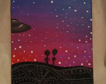 Aliens and UFO Painting, Original Acrylic Painting, Colorful Abstract from Outer Space, Henna Landscape with Stars, HazardzArt