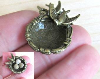 Bird Nest pendant, empty bird nest, bronze bird charm, Diy bird nest, Nature charms, fits 6mm beads, mother bird, tree nest, egg nest