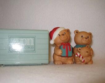 Avon Holiday Hugs  Porcelain Bear Figurine Set