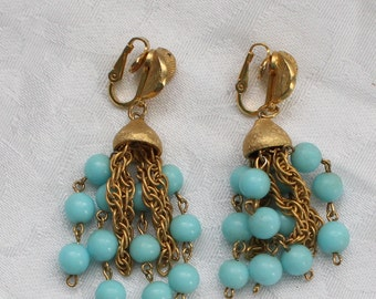 BNE # 119 Unique Vintage Signed Puccini Etched Gold Tone and Blue Bead and Etched Gold Tone Chain Chandelier Earrings