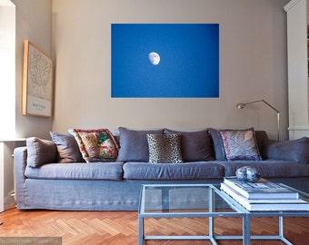 Blue Sky and white moon photo, wall art, travel photography, fine art photo, large wall art, home decor, canvas, frame