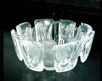 Vintage Ice Glass Bowl | Humppila Glass | Scandinavian