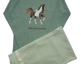 Horse pyjamas 'Heap big mischief'