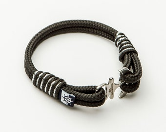 Anchor Shackle Nautical Rope Bracelet ANGUILLA black silver