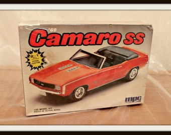 Vintage MPC 1969 Camaro SS Model Kit, 2 in 1 Stock Custom Model Kit, MPC Ertl Model, Plastic Model Car