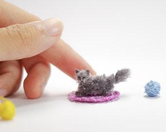 Miniature British longhair cat , Tiny amigurumi crochet cat, sleeping cat