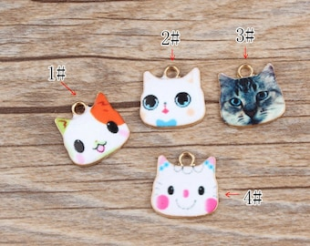 10PCS Cat Charms Kitten Jewelry Pendants Diy Jewelry Accessories for Necklace & Bracelet Making Enamel Charms
