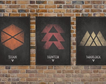 Destiny Video Game Posters, Set of Three Class Prints, Titan, Hunter & Warlock Print