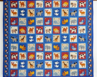 "Cute Blue Handmade Custom Animal Quilt, 41"" x 31.5"" -Distinctive Childrens' Blue Animal Quilt, Unique Small Quilt with Zoo Animals for Kids"