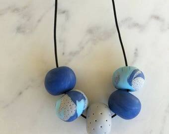 Floss Blue large - polymer clay necklace handmade