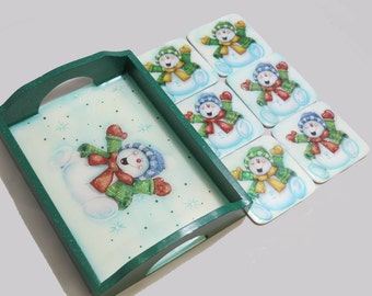Christmas Resin Wood Tray and Coasters (Snowman)
