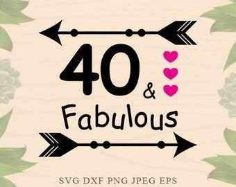 Birthday svg 40th birthday svg 40 and fabulous svg Birthday girl svg Birthday Dxf Birthday eps Cricut files Cricut download Silhouette files
