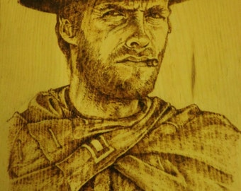 Clint Eastwood Portrait Woodburning Pyrography