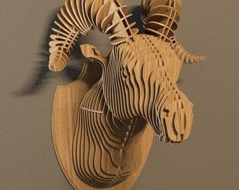 Ram head 3D puzzle-animals ,CNC ,decoration,decorative ,ram ,head ,interior,souvenir ,toy ,trophy ,wall ,wood, wooden vector graphic,laser