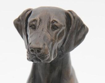 Weimaraner Sitting - Small Cold Cast Bronze Dog Statue