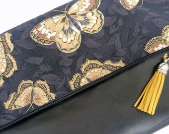 Faux leather foldover clutch, foldover handbag, butterfly clutch, best friend gift, gift for her, black gift, metallic fabric