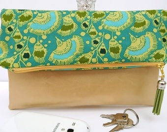 Faux leather foldover clutch, foldover handbag, green gold clutch, girlfriend gift, gift for her, green gold gift