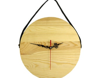 Hanging Wooden Leather Wall Clock DIY decoration