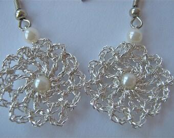 """Crochetted Earrings """"White Twins""""/ Handmade Crochetted Jewelry/ Silver Earrings"""