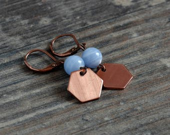 fine geometric earrings made of copper with blue chalcedony and Hexagon