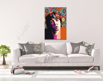 """Tribute to """"Beatles in India"""" and Paul McCartney FRAMED ART, personalized gift, name, pop art, Wall Art, gift for women, gift for men"""