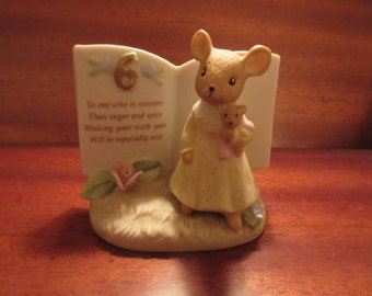 1983 Enesco 6th Birthday Mouse Figurine with poem