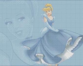 Cinderella:cross stitch pattern,disney embroidery pdf,cinderella pdf