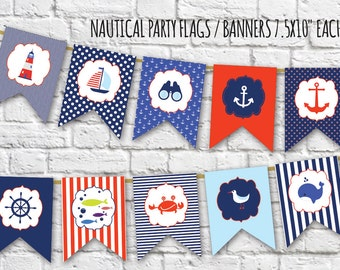Nautical Party Flags,Nautical Banner, Instant Download Printable Nautical Birthday Party Banner, Nautical Anchor Banner, Bunting Banner