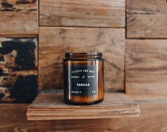 Vanilla Soy Candle   8 oz Amber Jar   Handmade with Natural Soy Wax