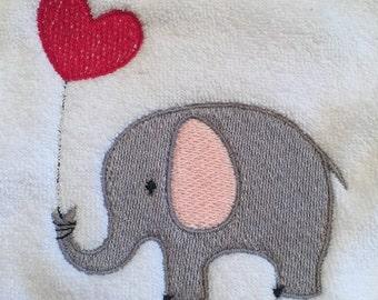 Elephant w/Heart Bib