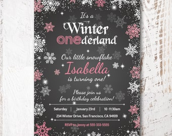 Winter Onederland Invitation Girl Chalkboard Girls First 1st Birthday Invite Pink, Printable Birthday Invite