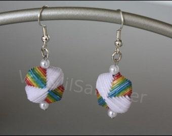 "Paper beads earrings ""rainbow"" #334"