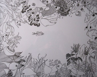 Aquarium, drawing handmade graphics, illustration
