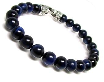 Blue Tiger Eye Bracelet  with Clasp,Men Bracelet,Mens Gift ,Mens Bracelet,Gift for Men,Men Gemstone Bracelet,Gift for Him,Beaded Bracelet
