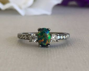 Oval Cut Black Opal Simulated Diamond Black Gold Sterling Silver Engagement Promise Ring, Women's October Birthstone Ring