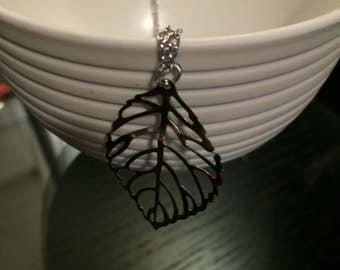 Silver LEAF, Gold LEAF, skeleton frame necklace pendent charm