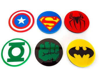 Acrylic superhero comic coasters