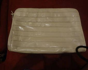 Vintage Marshall Field Italian Leather White Pleated Clutch