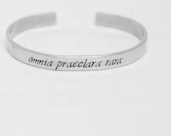 Omnia Praeclara Rara / All The Best Things Are Rare / Latin Quote Jewelry / Inspirational Jewelry / Inspirational Bracelet