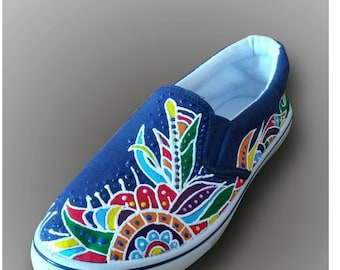 youth, blue, moccasins, hand-drawn loafers men's,painted moccasins,custom shoes,abstraction on a shoespainted  colorful todder moccasins
