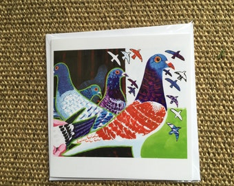 Pigeons Greetings Card