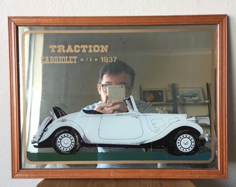 Traction Cabriolet 1937 Car Print Small Framed Mirror