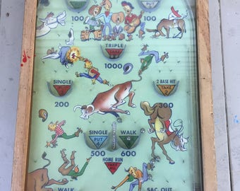Vintage Retro Rodeo Bagatelle Poosh M Up Tabletop Pinball game  Great Condition!