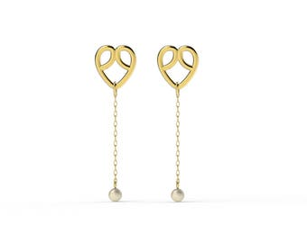 Gold plated hearts and pearls earrings