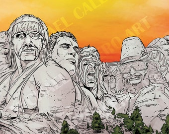 "WWF ""Legends"" Mount Rushmore ( Hulk Hogan , Andre the Giant , Ultimate Warrior and Macho Man Randy Savage )"