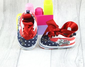 Baby shoes Soft Sole Harley Davidson American Flag 12-18 months