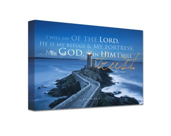 Christian Art Canvas The Lord is my Refuge