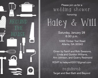 Chalkboard Wedding Shower Invitation, Couples Shower, Around the House